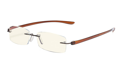 Computer Reading Glasses Blue Light Filter Rimless Readers UV Brown Arm UVCG1