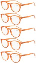 Reading Glasses 5 Pack Quality Spring Hinges Oval Round Sunshine Readers Orange R071-5pc