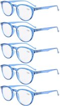 Reading Glasses 5 Pack Quality Spring Hinges Oval Round Readers Blue R071-5pc