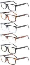 6-Pack Spring Hinges Reading Glasses For Men Women R899-6-Mix
