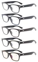 Reading Glasses 5-pack Classic Design Frame with Quality Spring Hinge Temples Readers R148-Mix