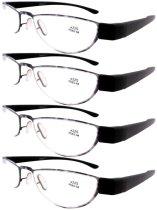 Reading Glasses Extremely Lightweight Sleek Comfortable Color Frame Readers Women Men Purple-Black R11003-4pcs