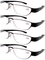Reading Glasses Extremely Lightweight Sleek Comfortable Color Frame Readers Women Men Red-Black R11003-4pcs