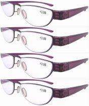Reading Glasses Extremely Lightweight Sleek Comfortable Color Frame Readers Women Men Purple R11003-4pcs