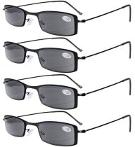 Reading Glasses 4-pack Lightweight Stainless Steel Frame Half-eye Style Includes Sunshine Readers Grey Lens R15005-4pc