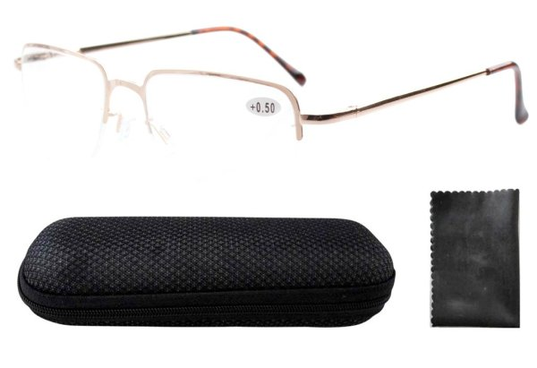 Stainless Steel Frame Spring Hinges Half-rim Reading Glasses Men Gold R1506