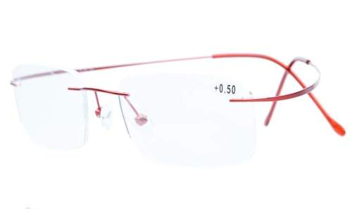 Titanium Rimless Reading Glasses Readers Red R1508
