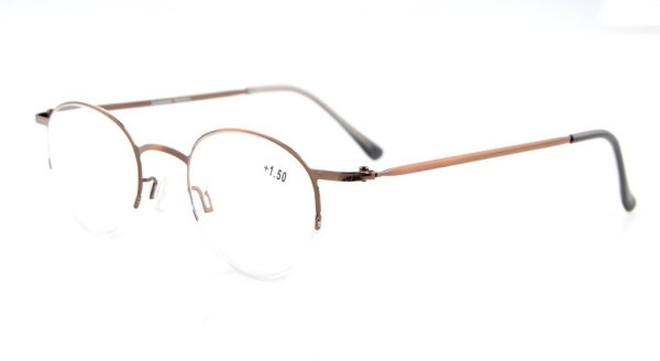 Lightweight Half-rim Oval Round Reading Glasses Brown R15029