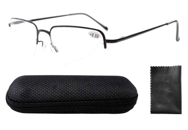 Stainless Steel Frame Spring Hinges Half-rim Reading Glasses Men Black R1506