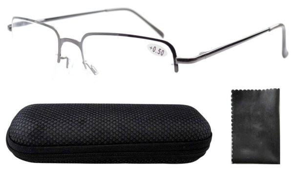 Stainless Steel Frame Spring Hinges Half-rim Reading Glasses Men Gunmetal R1506