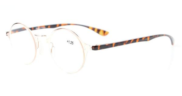 Lightweight Flex Round Reading Glasses Unique Stylish Crystal Clear Vision Gold R12618