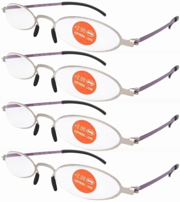 4-pack Stainless Steel Double Color Frame Reading Glasses Silver-Purple R12002-4pcs
