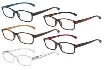 Reading Glasses 5 Pairs Comfort Readers Women Men Mix Color R177