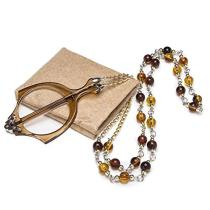 Mini Folding Reading Glasses Pendant Necklace Magnifier Champagne R153