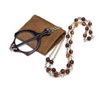 Mini Folding Reading Glasses Pendant Necklace Magnifier Tortoise R153