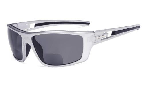 Bifocal Reading Sunglasses for Sports TR90 Pearly Silver S066-Bifocal