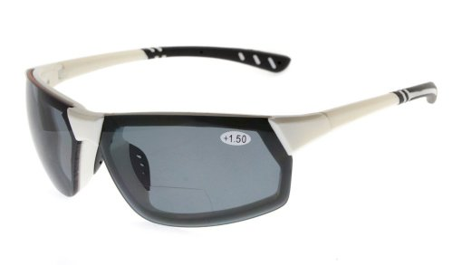 Bifocal Sunglasses UV400 Quality TR90 Frame Tinted Lens Sunshine Readers Women Men White Frame TH6157-Bifocal