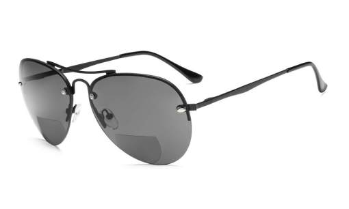 Half-rim Pilot Style Bifocal Reading Sunglasses Black S16016-Bifocal