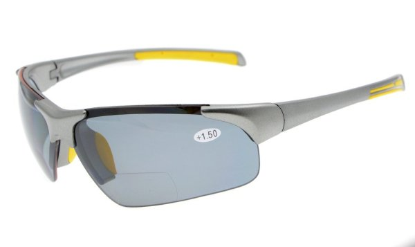Bifocal Sunglasses UV400 Protection Quality Unbreakable TR90 Frame Half-rimless Grey Frame TH6186-Bifocal
