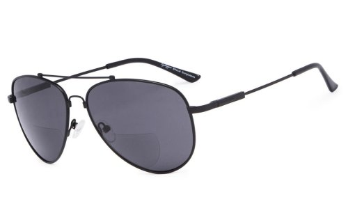 Bifocal Sunglasses Reading Sunglass With Memory Bridge and Arm Black-Grey-Lens SG1804
