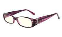 Computer Glasses UV Reading Glasses with Genuine Austrian Crystals Women Purple CG081