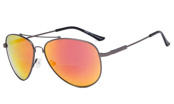 Bifocal Sunglasses Reading Sunglass With Memory Bridge and Arm Red-Mirror SG1804