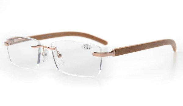 Spring Hinges Wood Arms Rimless Reading Glasses Gold R1634