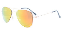 Stainless Steel Frame Pilot Kids Children Sunglasses Gold-Red Mirror S15017