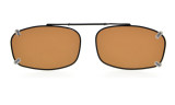 Metal Frame Rim Polarized Lens Clip On Sunglasses 2 1/8 x1 5/16 inch (54×34MM) Brown C65