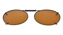 Metal Frame Rim Polarized Lens Clip On Sunglasses 1 11/16×1 3/16 inch (43x30MM) Brown C74
