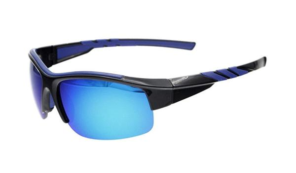 Sunglasses Polarized Half Rimless Polycarbonate TR90 Unbreakable Sport Black/Blue Mirror TH6226