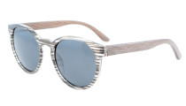 Sunglasses Polarized Oval Round Quality Spring Hinges Women Stripe/Grey Lens S009-Polarized