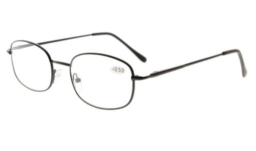 Metal Frame Spring Hinged Arms Reading Glasses Black R3232