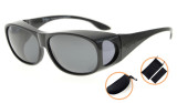 Sunglasses Polarized Fitover for Prescription Glasses Retro Style Black S029