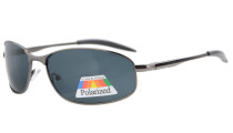 Sunglasses Polarized Metal Frame Fishing Golf Cycling Flying Outdoor Gunmetal S15003-Polarized