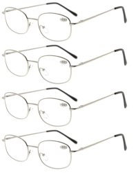 4pcs Metal Frame Spring Hinged Arms Reading Glasses Silver R3232-4pcs