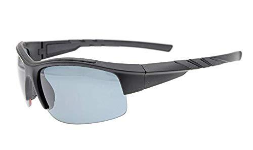 Sunglasses Polarized Half Rimless Polycarbonate TR90 Unbreakable Sport Black/Grey Lens TH6226