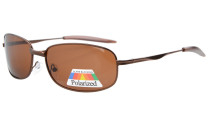 Sunglasses Polarized Metal Frame Fishing Golf Cycling Flying Outdoor Brown S15002-Polarized