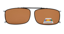 Metal Frame Rim Polarized Lens Clip On Sunglasses 2 1/16 x4 1/2 inch  (52×33 MM) Brown C63