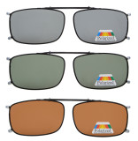 3-pack Clip-on Polarized Sunglasses 2 1/16 x4 1/2 inch  (52×33 MM) C63-3pcs-Mix