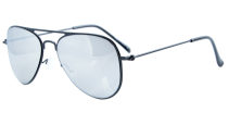 Stainless Steel Frame Pilot Kids Children Sunglasses Black-Silver Mirror S15017