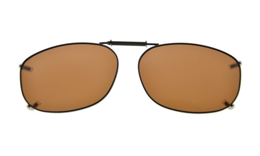 Metal Frame Rim Polarized Lens Clip On Sunglasses 2 1/8 x1 7/16 inch (54×37MM) Brown C67