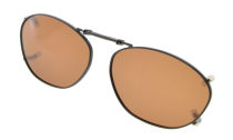 Metal Frame Rim Polarized Lens Clip On Sunglasses 2×1 5/16 inch (51x33MM) Brown C84
