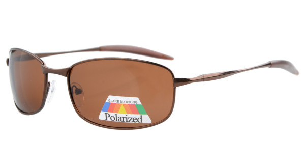 Sunglasses Polarized Metal Frame Fishing Golf Cycling Flying Outdoor Brown S15006-Polarized