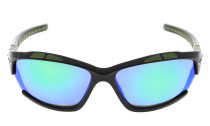 Sunglasses Polarized Polycarbonate TR90 Unbreakable Sport Black/Green Mirror TH7007