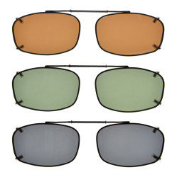 3-pack Clip-on Polarized Sunglasses 2 1/8 x1 5/16 inch (54×34MM) C65-3pcs-Mix