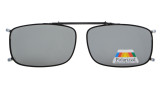Metal Frame Rim Polarized Lens Clip On Sunglasses 2 1/16 x4 1/2 inch  (52×33 MM) Grey C63