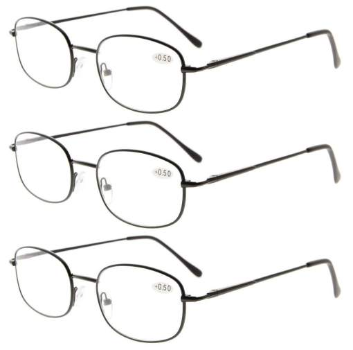 3 Pairs Metal Frame Spring Hinged Arms Reading Glasses Black R3232-3pcs