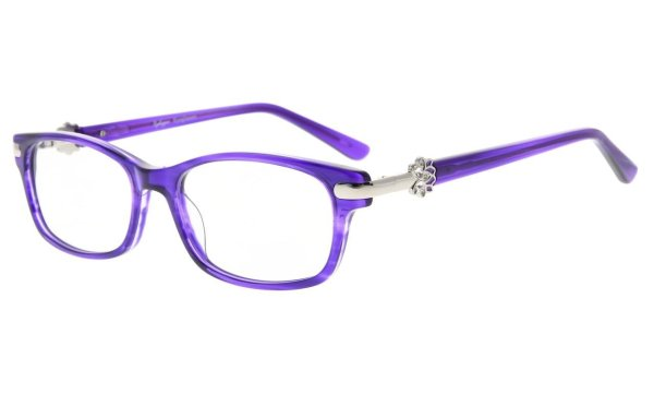 Eyeglasses Quality Spring Hinge Optically Correct Acetate Rx-able Frame for Readers Women Purple FA0072