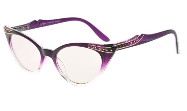 Cateyes Computer Reading Glasses - Blue Light Blocking Anti Eye Strain Readers Womens,Purple-Clear CG914